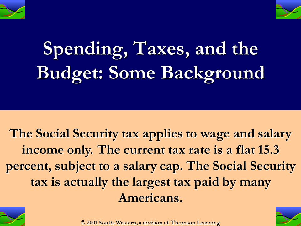 Spending, Taxes, and the Budget: Some Background Average Tax Rate The fraction of a given income paid in taxes.