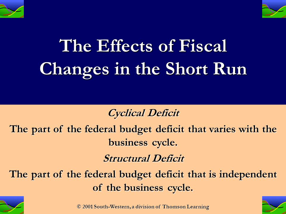The Effects of Fiscal Changes in the Short Run In a recession, because transfers rise and tax revenue falls, the federal budget deficit increases (or the surplus decreases).