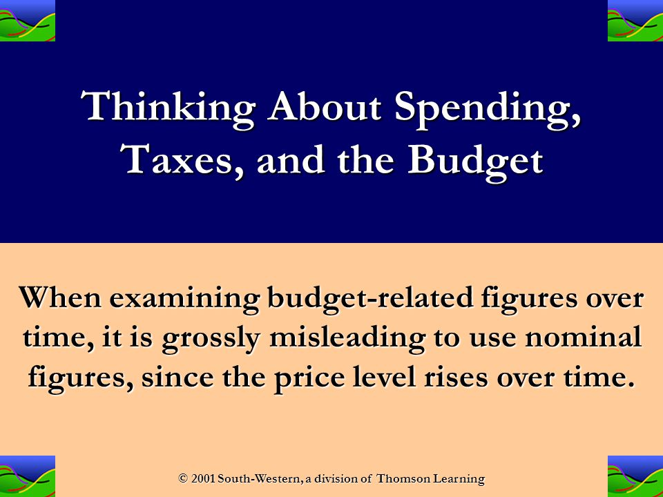 Fiscal Policy: Taxes, Spending, and the Federal Budget © 2001 South-Western, a division of Thomson Learning