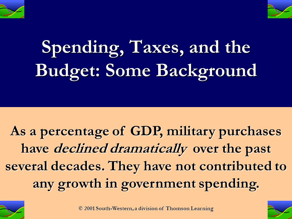 Spending, Taxes, and the Budget: Some Background As a percentage of GDP, non-military government purchases have remained very low and stable.