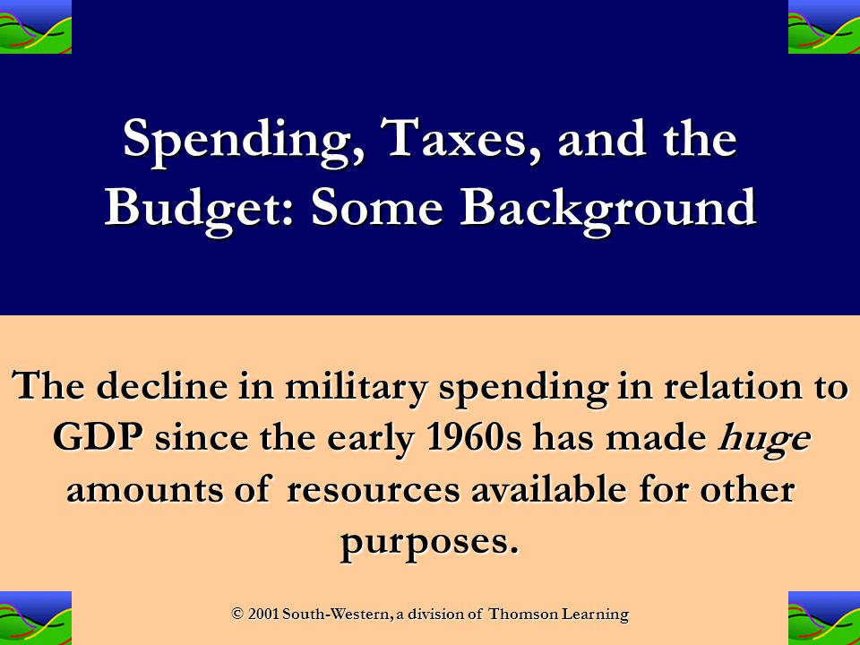 Spending, Taxes, and the Budget: Some Background As a percentage of GDP, military purchases have declined dramatically over the past several decades.