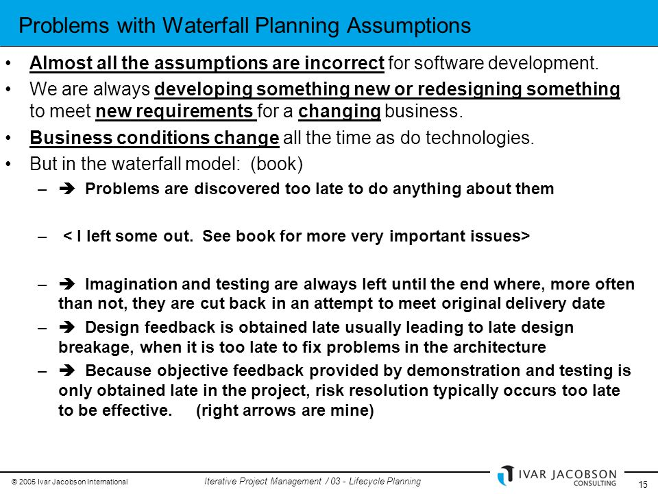 © 2005 Ivar Jacobson International 15 Iterative Project Management / 03 - Lifecycle Planning Problems with Waterfall Planning Assumptions Almost all the assumptions are incorrect for software development.