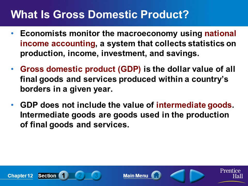 Chapter 12SectionMain Menu Consumer goods include durable goods, goods that last for a relatively long time like refrigerators, and nondurable goods, or goods that last a short period of time, like food and light bulbs.