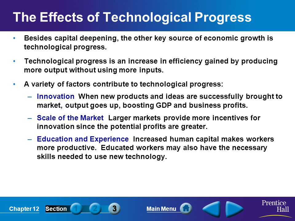 Chapter 12SectionMain Menu The Effects of Technological Progress Besides capital deepening, the other key source of economic growth is technological progress.