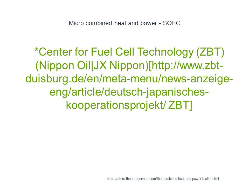 Micro combined heat and power - SOFC 1 *Center for Fuel Cell Technology (ZBT) (Nippon Oil|JX Nippon)[http://www.zbt- duisburg.de/en/meta-menu/news-anz