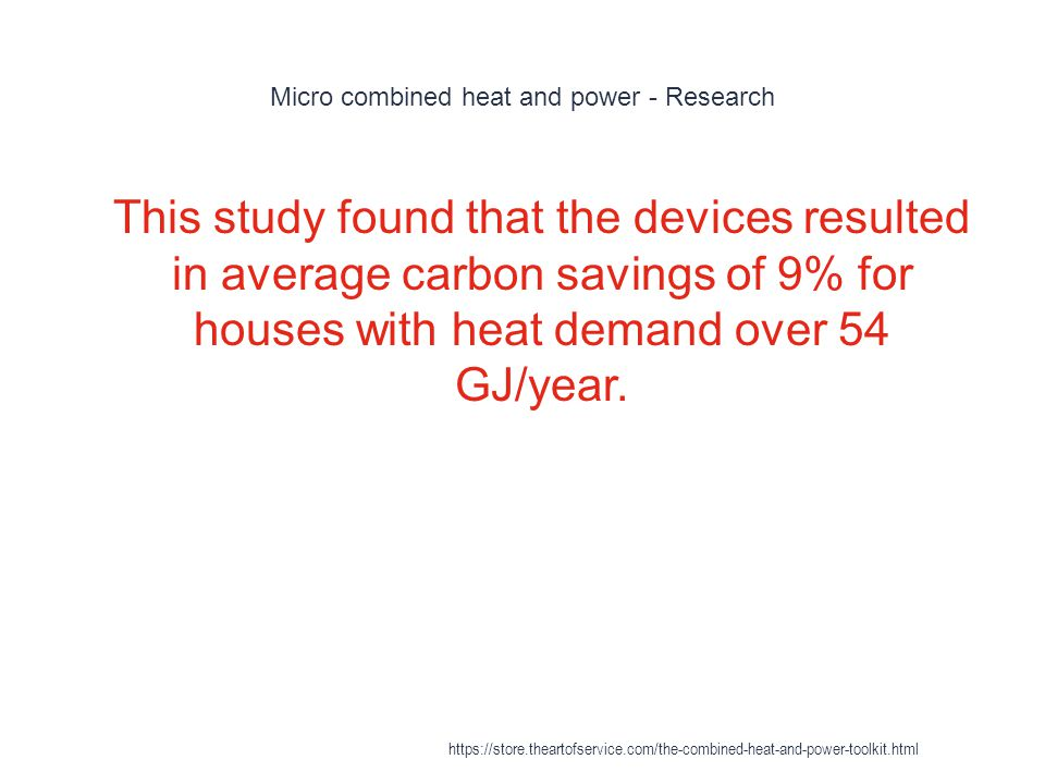 Micro combined heat and power - Research 1 This study found that the devices resulted in average carbon savings of 9% for houses with heat demand over