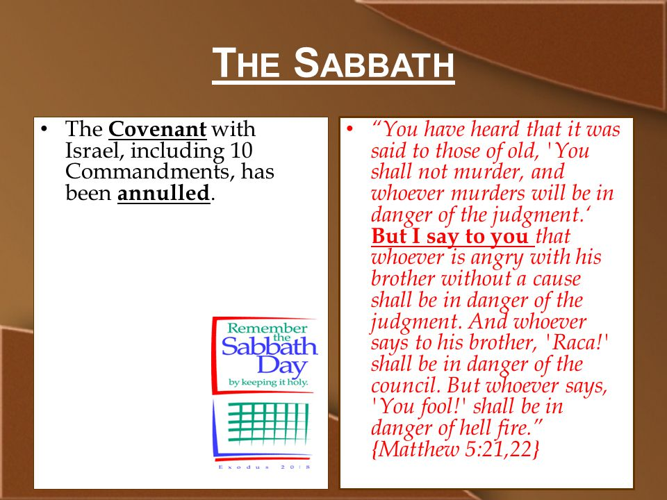 T HE S ABBATH The Covenant with Israel, including 10 Commandments, has been annulled.