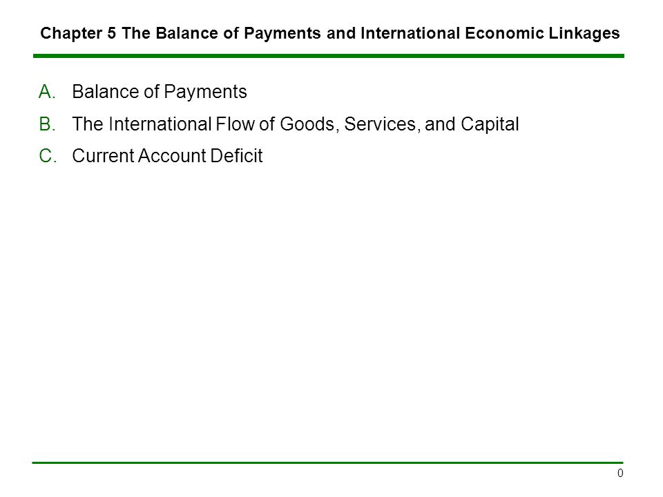 Chapter 5: The Balance of Payments and International Economic Linkages11 5.C.Current Account Deficit (3)  Responses to a Current Account deficit include currency devaluation, protectionism, and increasing savings, continued –Protectionism Tariffs increase the prices of imports, causing domestic consumers to opt for domestic substitutes.