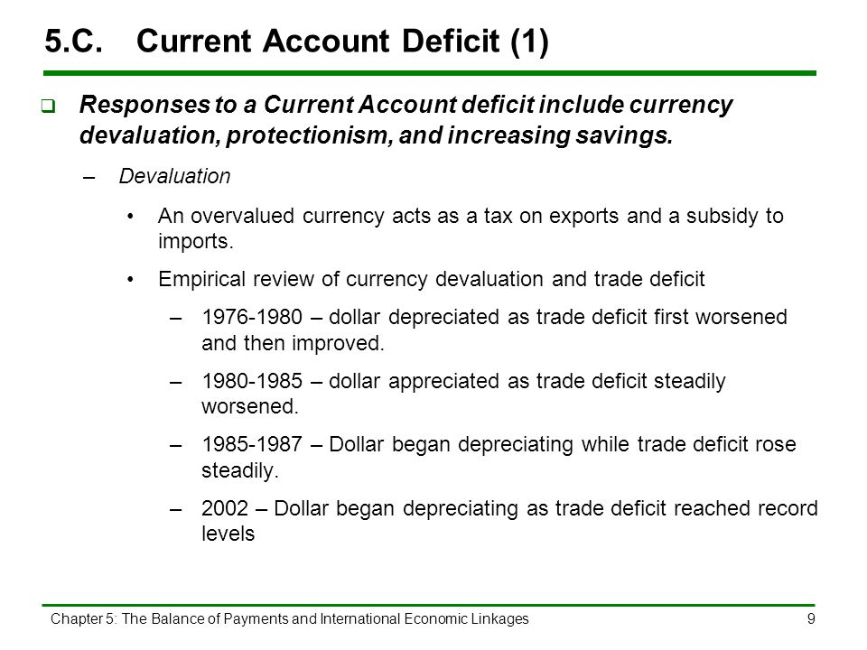 Chapter 5: The Balance of Payments and International Economic Linkages9 5.C.Current Account Deficit (1)  Responses to a Current Account deficit inclu