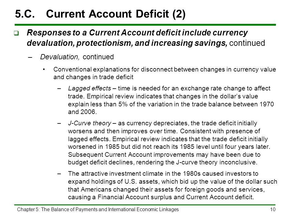 Chapter 5: The Balance of Payments and International Economic Linkages10 5.C.Current Account Deficit (2)  Responses to a Current Account deficit incl
