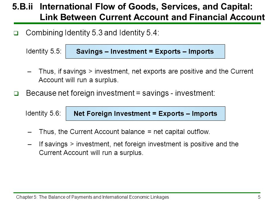 Chapter 5: The Balance of Payments and International Economic Linkages6 5.B.iiInternational Flow of Goods, Services, and Capital: Link Between Current Account and Financial Account  By Identity 5.6, the excess of goods and services bought over goods and services produced domestically must be acquired through foreign trade and financed by an equal amount of borrowing from abroad.