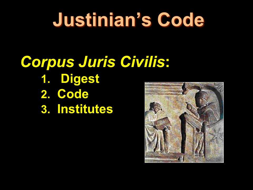 Justinian's Code Corpus Juris Civilis: 1. Digest 2. Code 3. Institutes