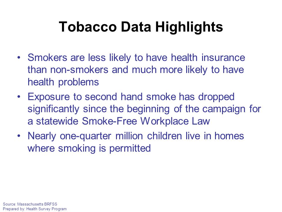Source: Massachusetts BRFSS Prepared by: Health Survey Program Tobacco Data Highlights Smokers are less likely to have health insurance than non-smoke