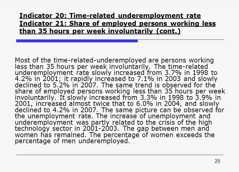 25 Indicator 20: Time-related underemployment rate Indicator 21: Share of employed persons working less than 35 hours per week involuntarily (cont.) M