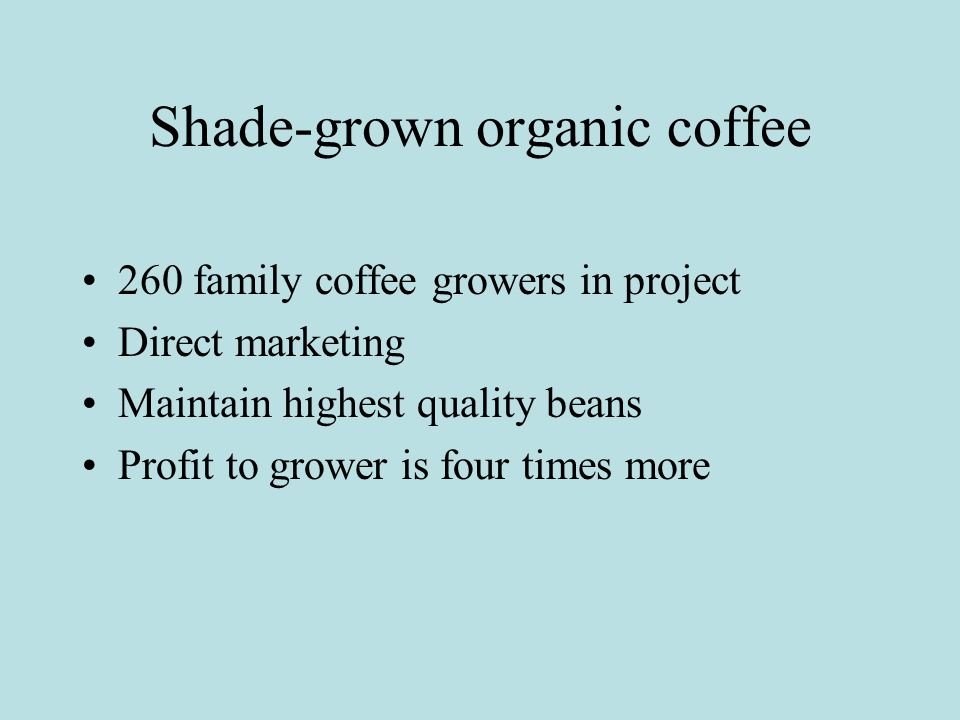 Shade-grown organic coffee 260 family coffee growers in project Direct marketing Maintain highest quality beans Profit to grower is four times more