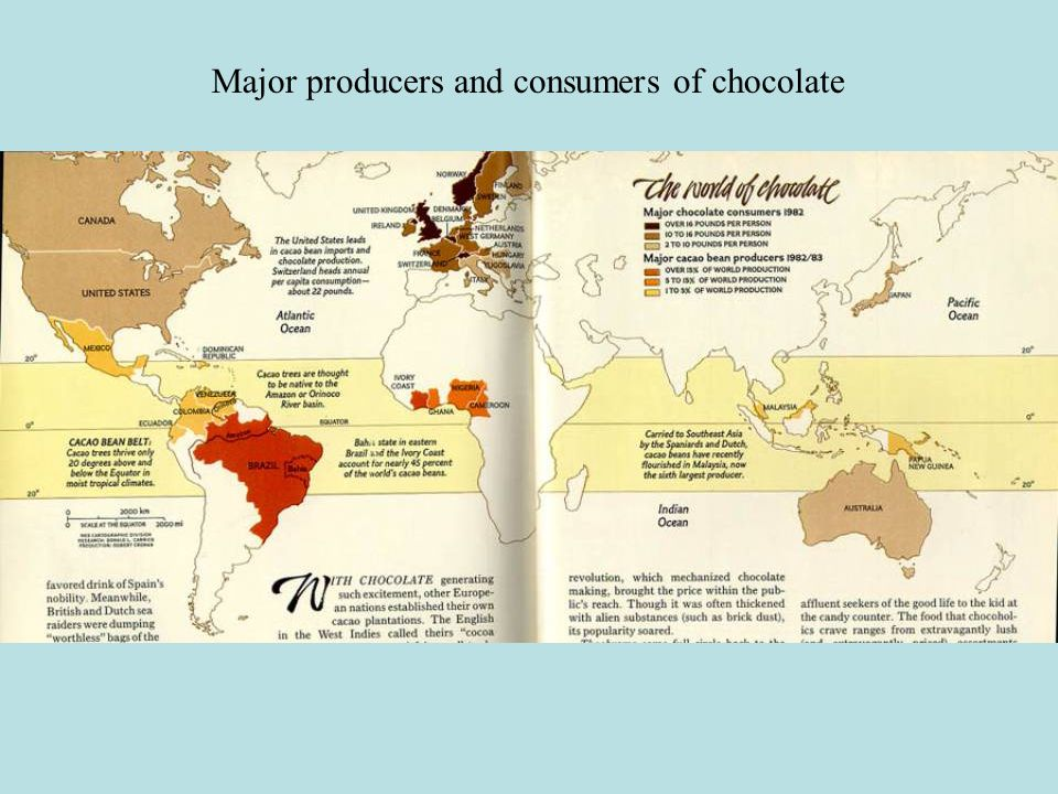 Major producers and consumers of chocolate