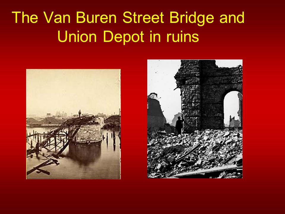 The Van Buren Street Bridge and Union Depot in ruins