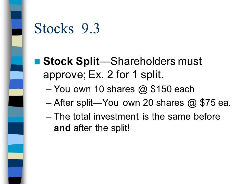 Stocks 9.3 Stock Split—Shareholders must approve; Ex.