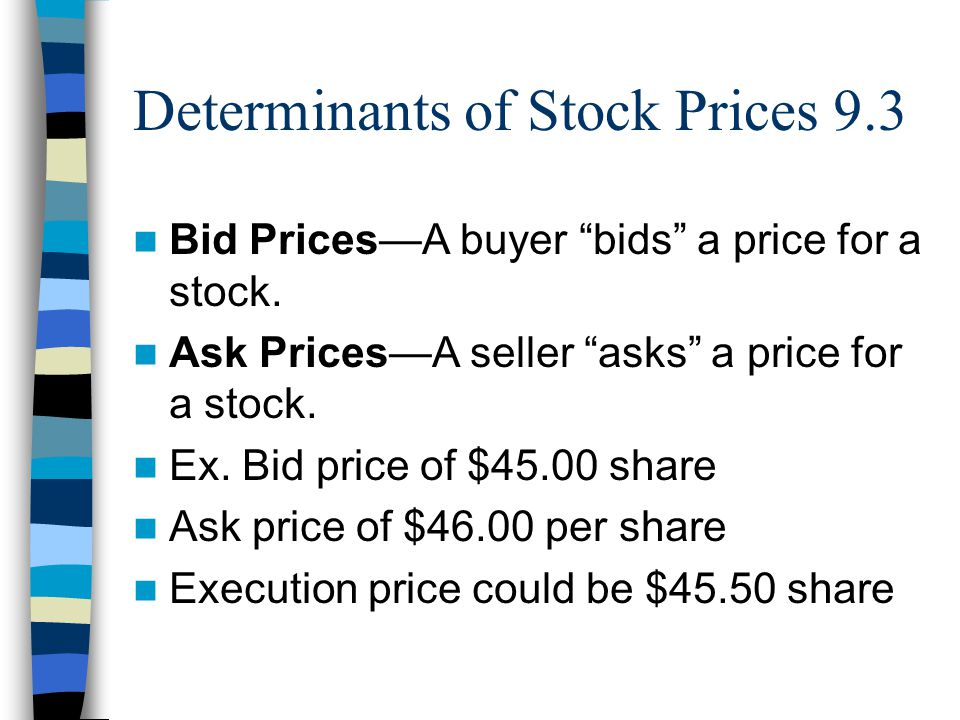 Determinants of Stock Prices 9.3 Bid Prices—A buyer bids a price for a stock.