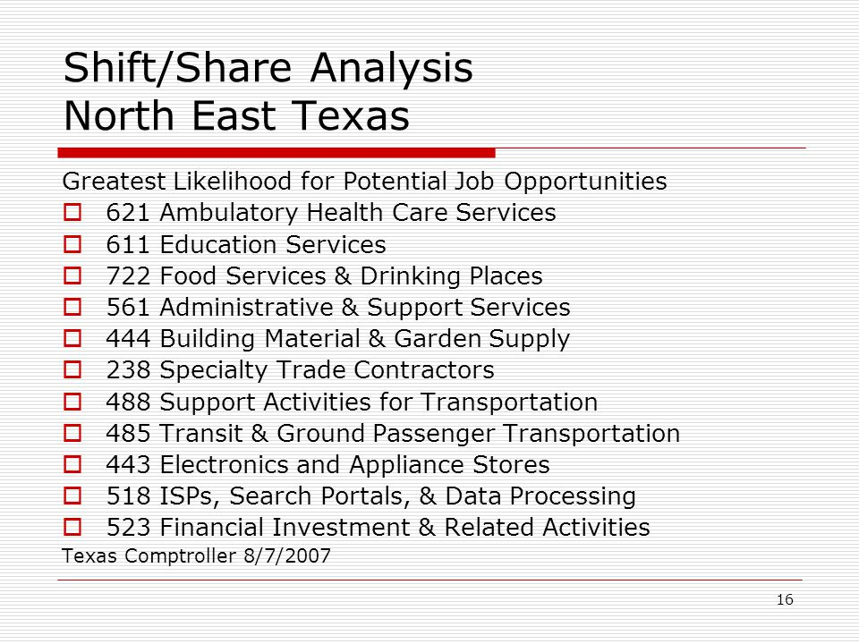 16 Shift/Share Analysis North East Texas Greatest Likelihood for Potential Job Opportunities  621 Ambulatory Health Care Services  611 Education Services  722 Food Services & Drinking Places  561 Administrative & Support Services  444 Building Material & Garden Supply  238 Specialty Trade Contractors  488 Support Activities for Transportation  485 Transit & Ground Passenger Transportation  443 Electronics and Appliance Stores  518 ISPs, Search Portals, & Data Processing  523 Financial Investment & Related Activities Texas Comptroller 8/7/2007
