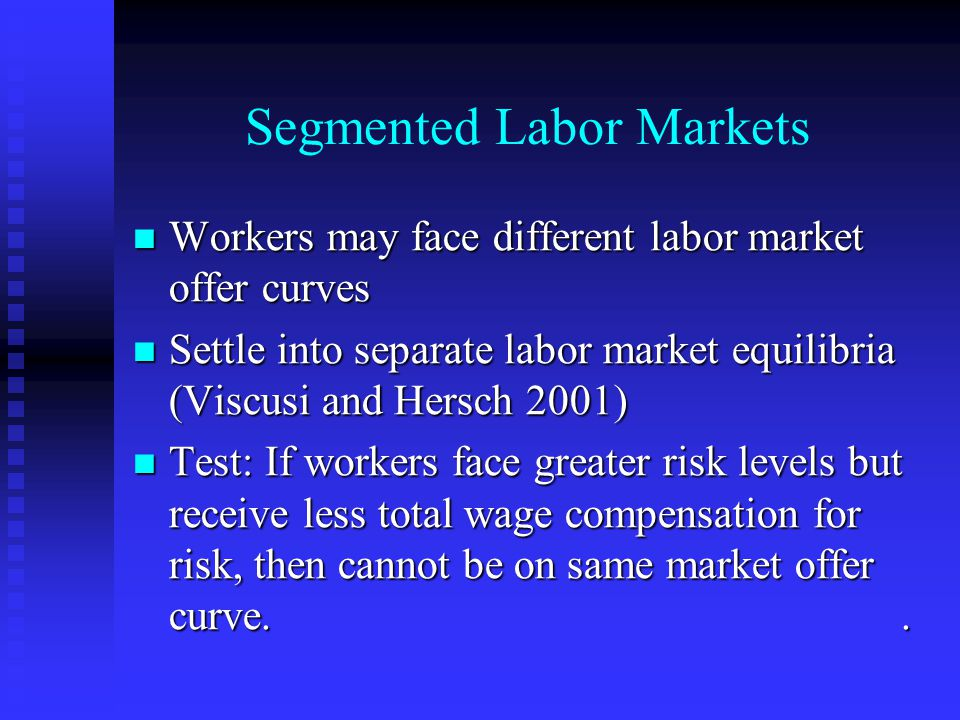 Segmented Labor Markets Workers may face different labor market offer curves Workers may face different labor market offer curves Settle into separate labor market equilibria (Viscusi and Hersch 2001) Settle into separate labor market equilibria (Viscusi and Hersch 2001) Test: If workers face greater risk levels but receive less total wage compensation for risk, then cannot be on same market offer curve..