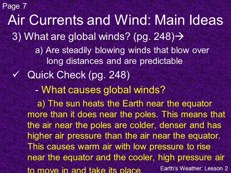 3) What are global winds. (pg.