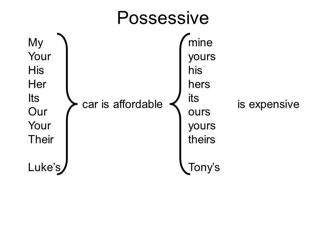 Possessive My Your His Her Its Our Your Their Luke's mine yours his hers its ours yours theirs Tony's car is affordableis expensive