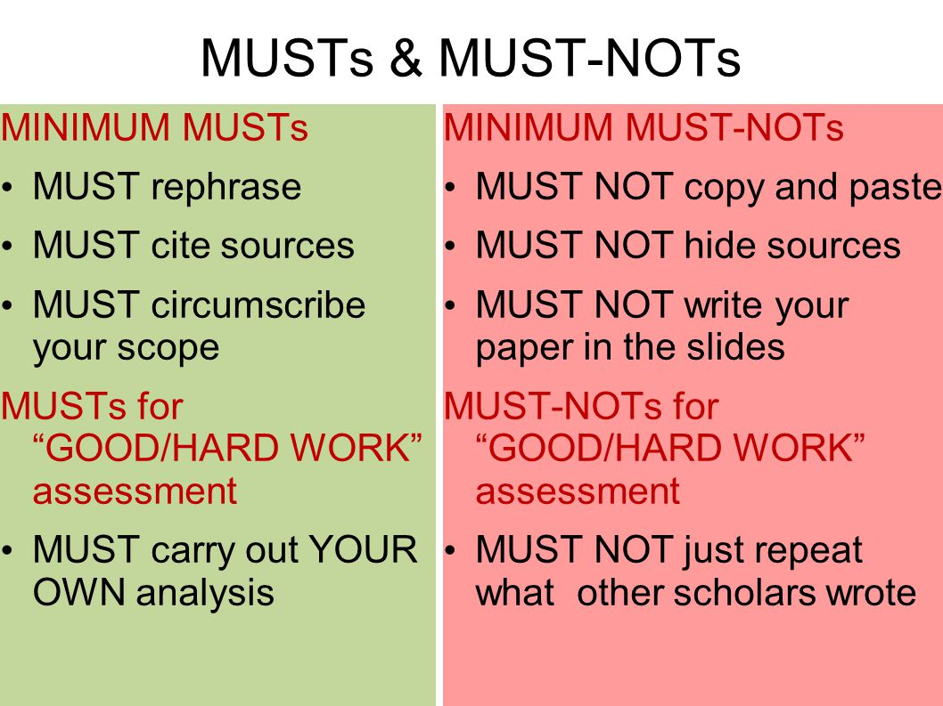 MUSTs & MUST-NOTs MINIMUM MUSTs MUST rephrase MUST cite sources MUST circumscribe your scope MUSTs for GOOD/HARD WORK assessment MUST carry out YOUR OWN analysis MINIMUM MUST-NOTs MUST NOT copy and paste MUST NOT hide sources MUST NOT write your paper in the slides MUST-NOTs for GOOD/HARD WORK assessment MUST NOT just repeat what other scholars wrote