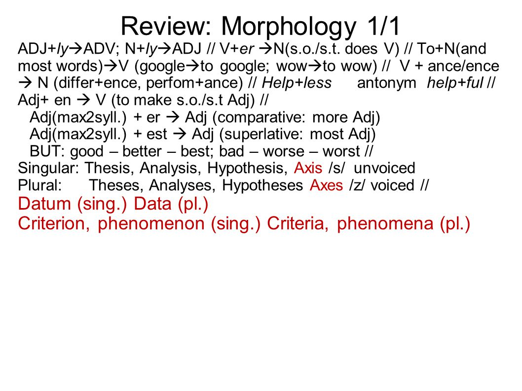 Review: Morphology 1/1 ADJ+ly  ADV; N+ly  ADJ // V+er  N(s.o./s.t.
