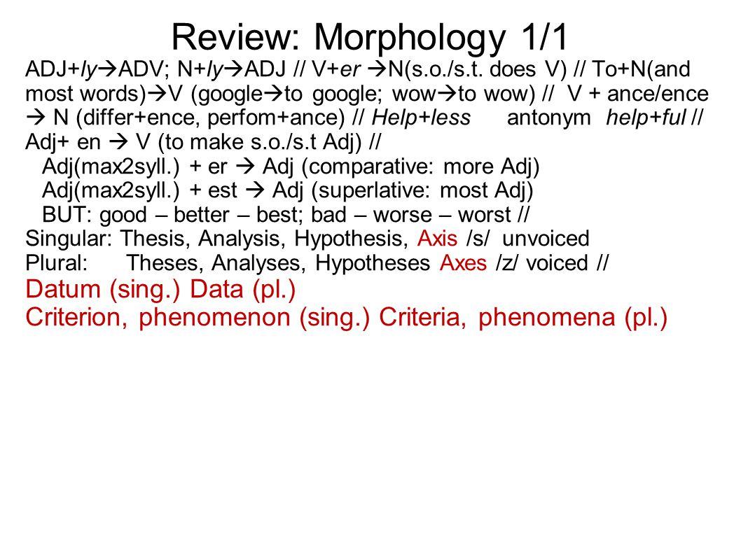 Review: Morphology 1/1 ADJ+ly  ADV; N+ly  ADJ // V+er  N(s.o./s.t.