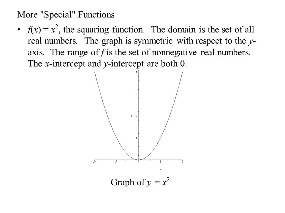 More Special Functions f(x) =, the square root function.