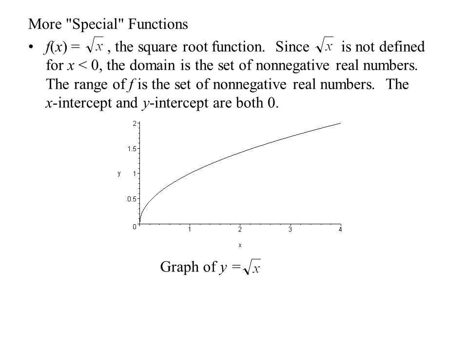 More Special Functions f(x) = x 3, the cubic function.