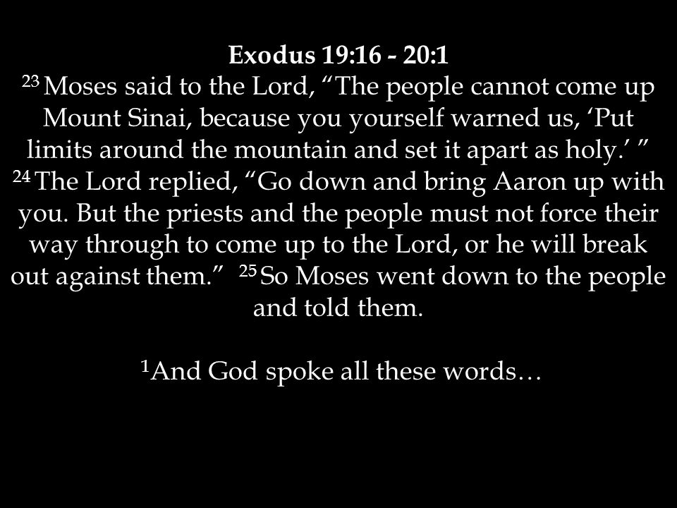 Exodus 19:16 - 20:1 23 Moses said to the Lord, The people cannot come up Mount Sinai, because you yourself warned us, 'Put limits around the mountain and set it apart as holy.' 24 The Lord replied, Go down and bring Aaron up with you.
