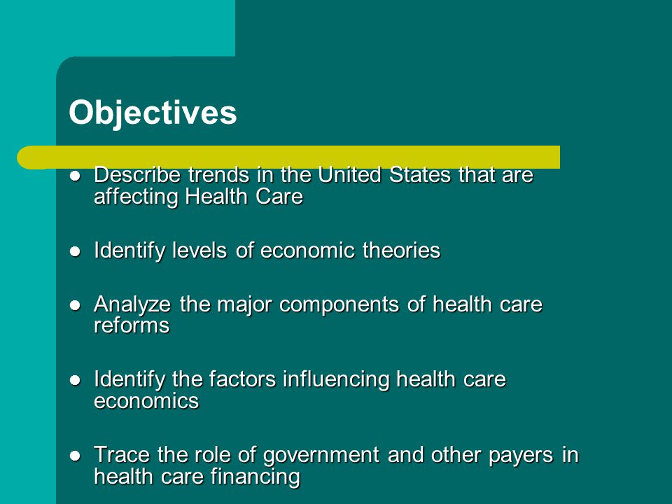 Objectives Describe trends in the United States that are affecting Health Care Describe trends in the United States that are affecting Health Care Identify levels of economic theories Identify levels of economic theories Analyze the major components of health care reforms Analyze the major components of health care reforms Identify the factors influencing health care economics Identify the factors influencing health care economics Trace the role of government and other payers in health care financing Trace the role of government and other payers in health care financing