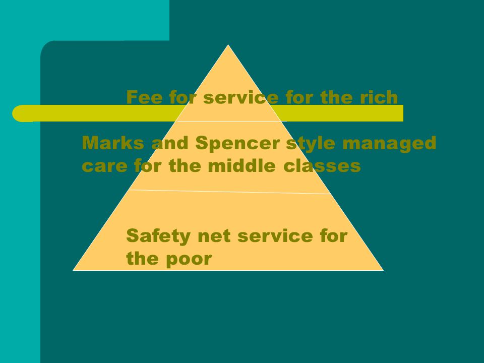 Fee for service for the rich Marks and Spencer style managed care for the middle classes Safety net service for the poor