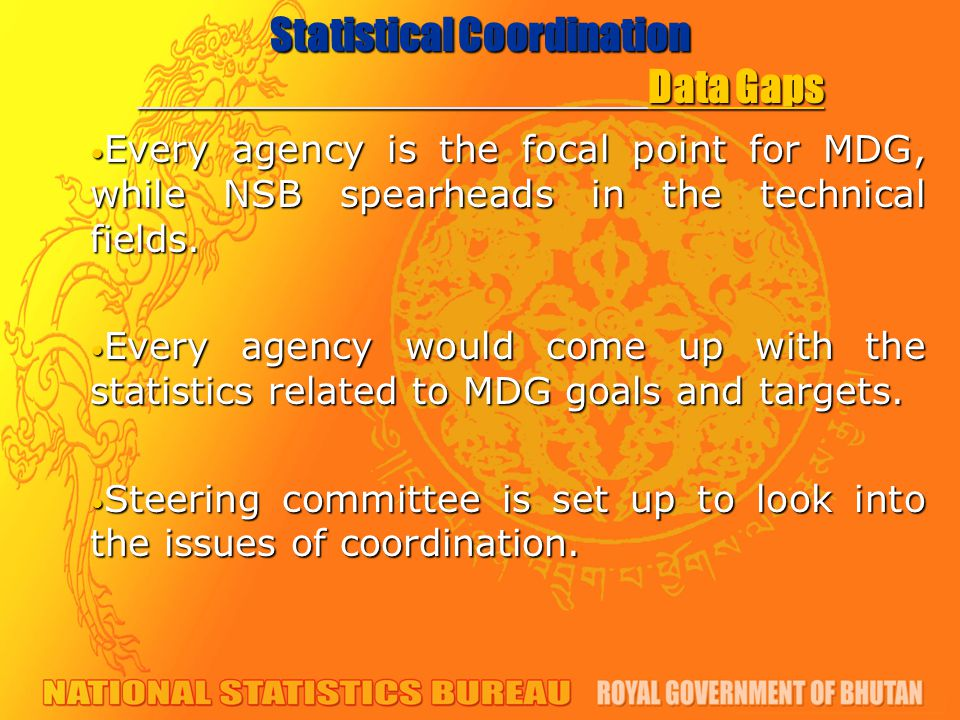 Statistical Coordination Data Gaps Every agency is the focal point for MDG, while NSB spearheads in the technical fields.