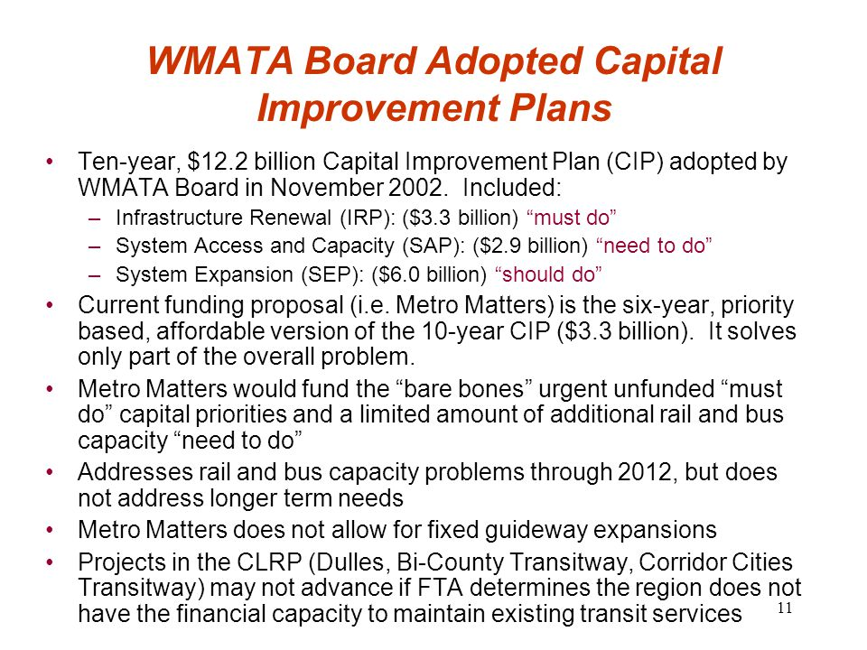 11 WMATA Board Adopted Capital Improvement Plans Ten-year, $12.2 billion Capital Improvement Plan (CIP) adopted by WMATA Board in November 2002.