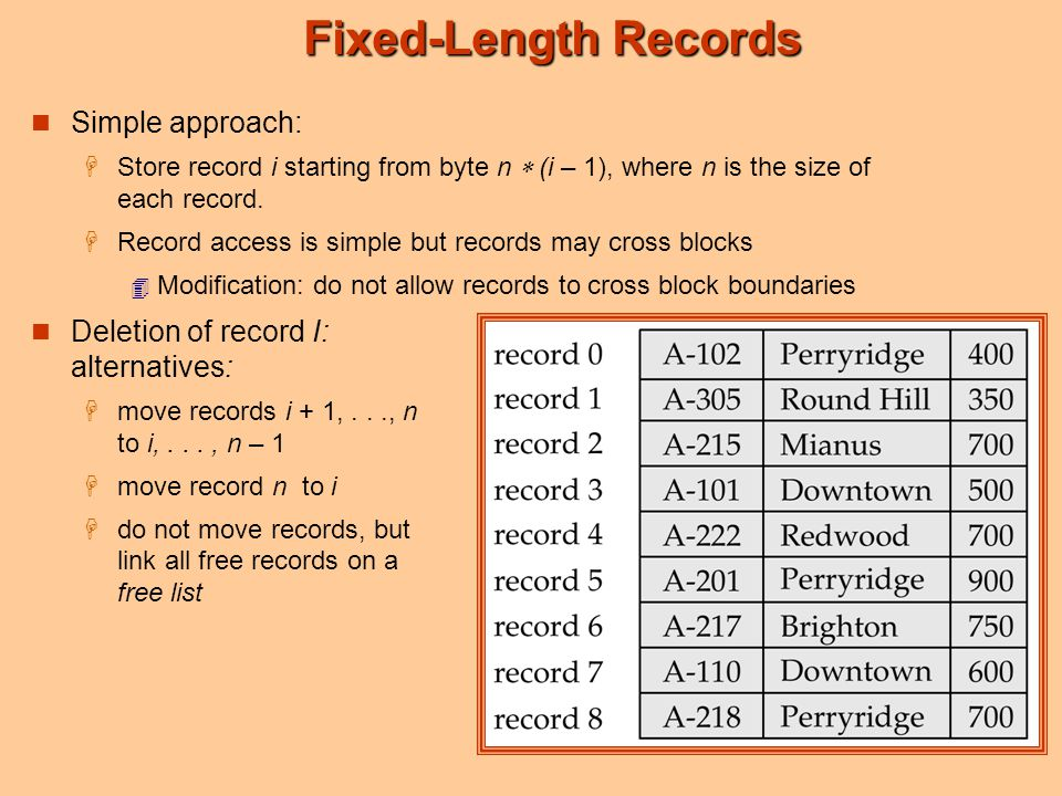 Fixed-Length Records Simple approach:  Store record i starting from byte n  (i – 1), where n is the size of each record.  Record access is simple b