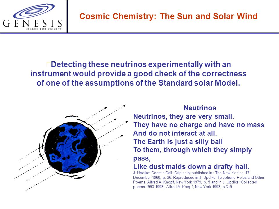 Cosmic Chemistry: The Sun and Solar Wind Models are beneficial for testing. Mysterious particles called neutrinos are produced by nuclear fusion. They