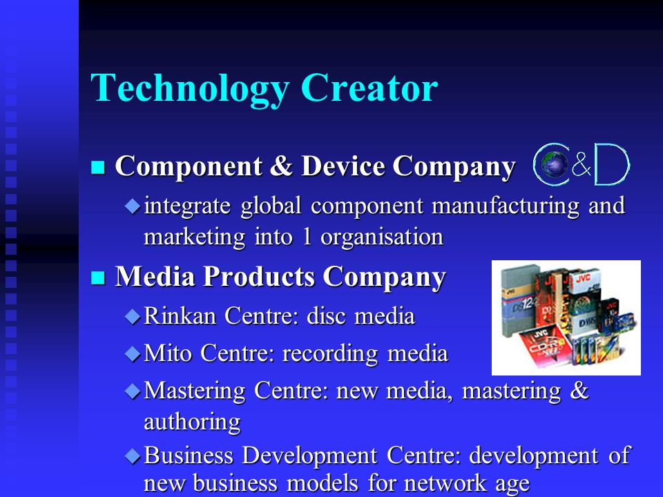Technology Creator n AV & Multi Media Company u Home AV Network Business Unit u Personal & Mobile Network Business Unit u Communication Network Business Unit u Projection & System Network Business Unit u IT Network Division F AV & Multi Media Laboratory F VDR Development Department