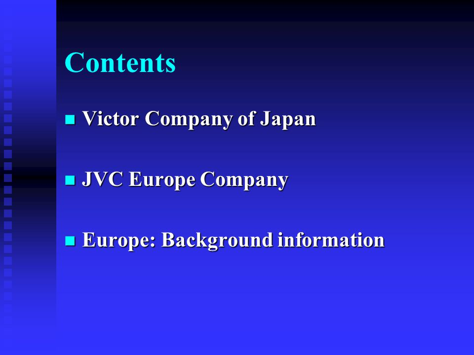 Corporate Profile & Presentation JVC