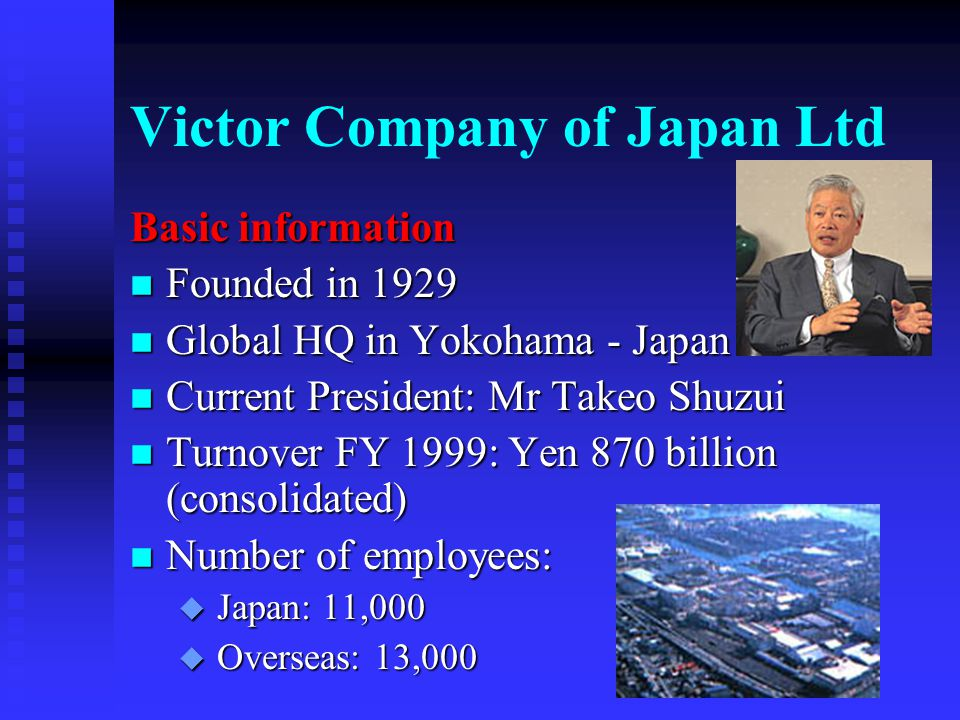 Contents n Victor Company of Japan n JVC Europe Company n Europe: Background information