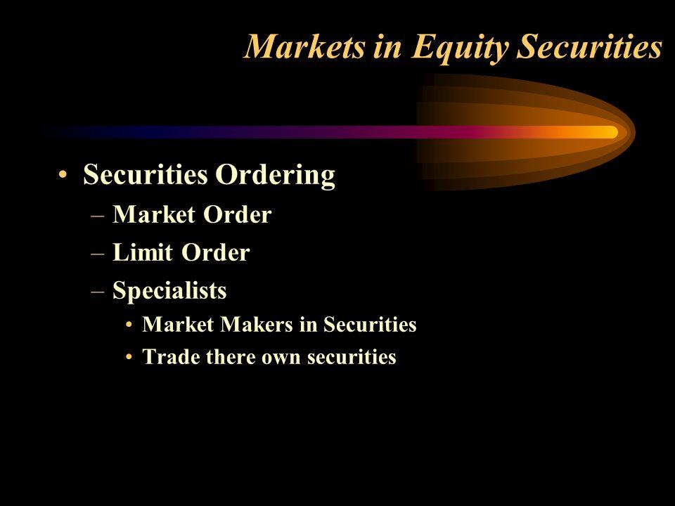 Markets in Equity Securities Securities Ordering –Market Order –Limit Order –Specialists Market Makers in Securities Trade there own securities