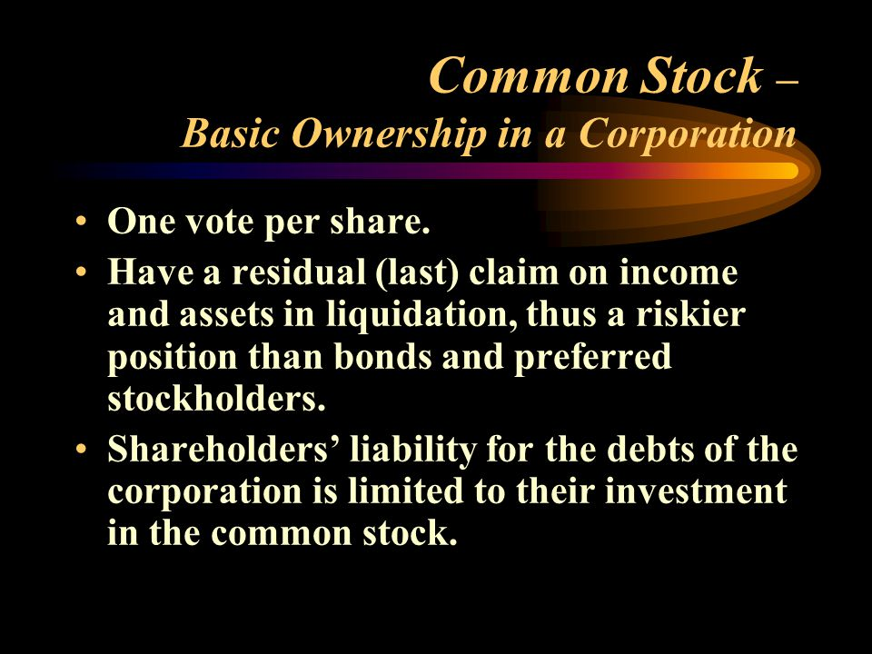 Common Stock (concluded) Shareholders' return is derived from dividends declared by the board of directors and from market appreciation in the value of the stock.