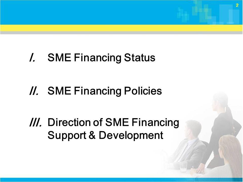 2 Ⅰ.Ⅰ. SME Financing Status SME Financing Policies Ⅱ.Ⅱ.