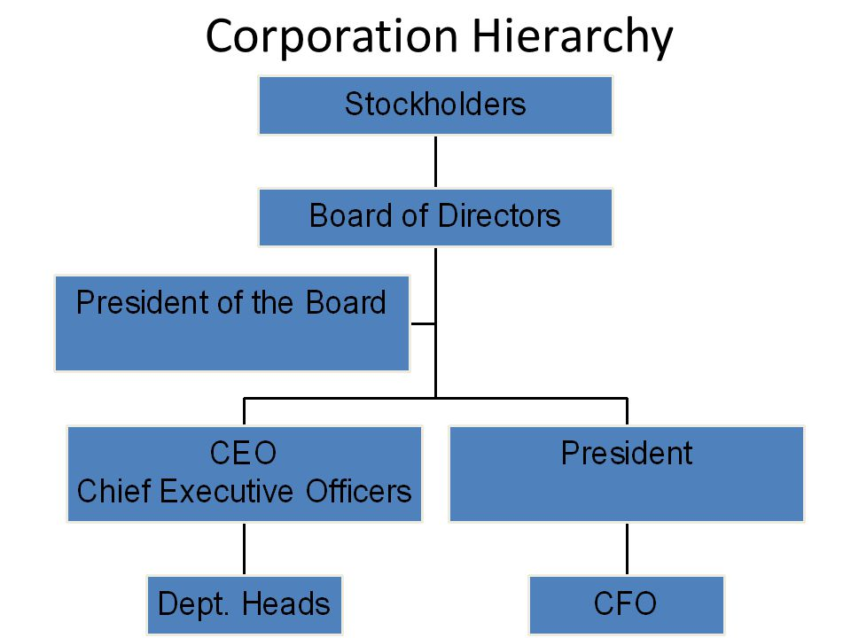 CORPORATION STRUCTURE Stockholders own the business and elect a Board of Directors Board makes major decisions of corp.