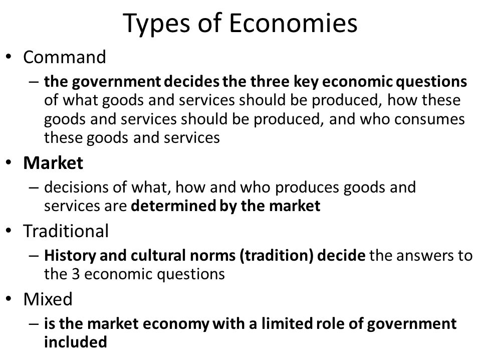 Market Economy Invisible hand- supply and demand sets prices not some govt.