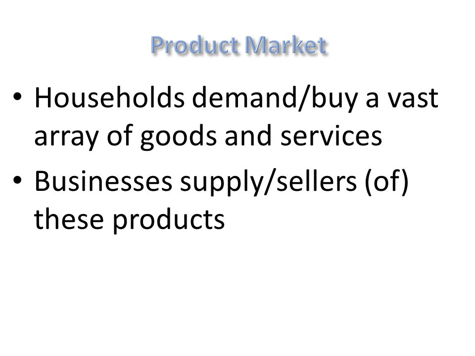 Households sell factors of production (CELL) Businesses buy factors to make goods/services
