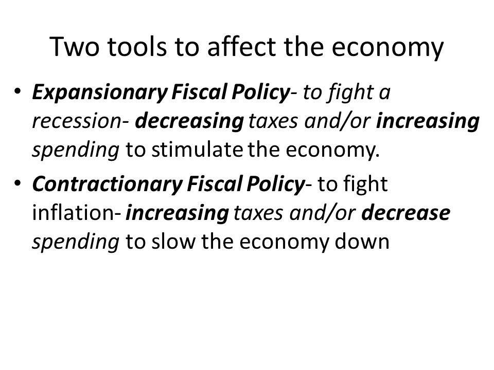 Fiscal policy Government (President and Congress) involvement in the economy is to either stimulate the economy out of a recession or slow the economy during a period of inflation.