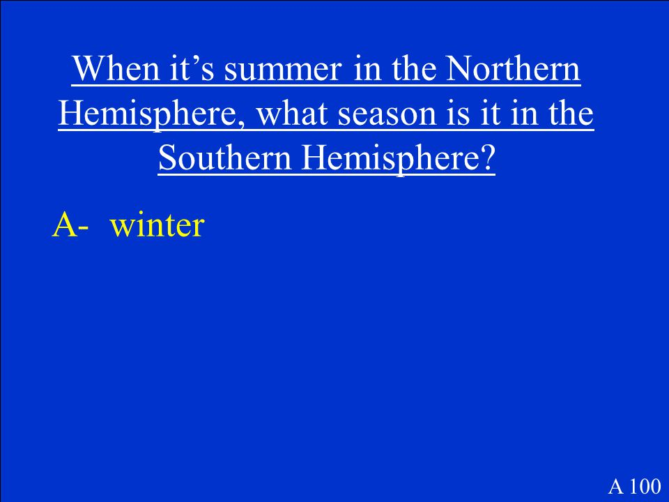 When it's summer in the Northern Hemisphere, what season is it in the Southern Hemisphere.